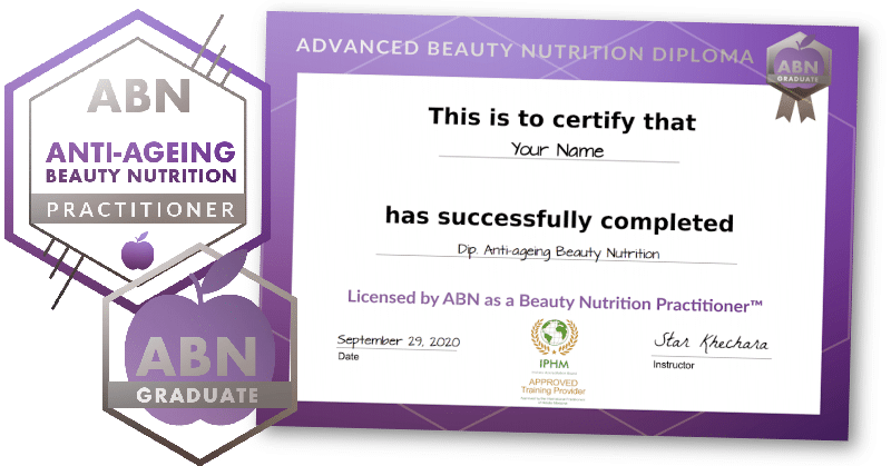 Advanced Diploma in Anti-Ageing Beauty Nutrition - certificate and badges image