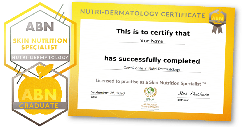 Certificate in Nutritional Dermatology - certificate graphic