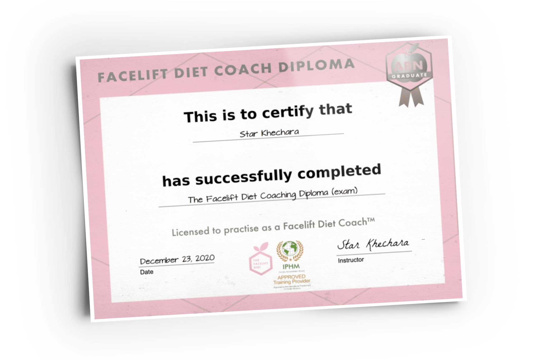 Facelift Diet Coach Diploma (certificate graphic)