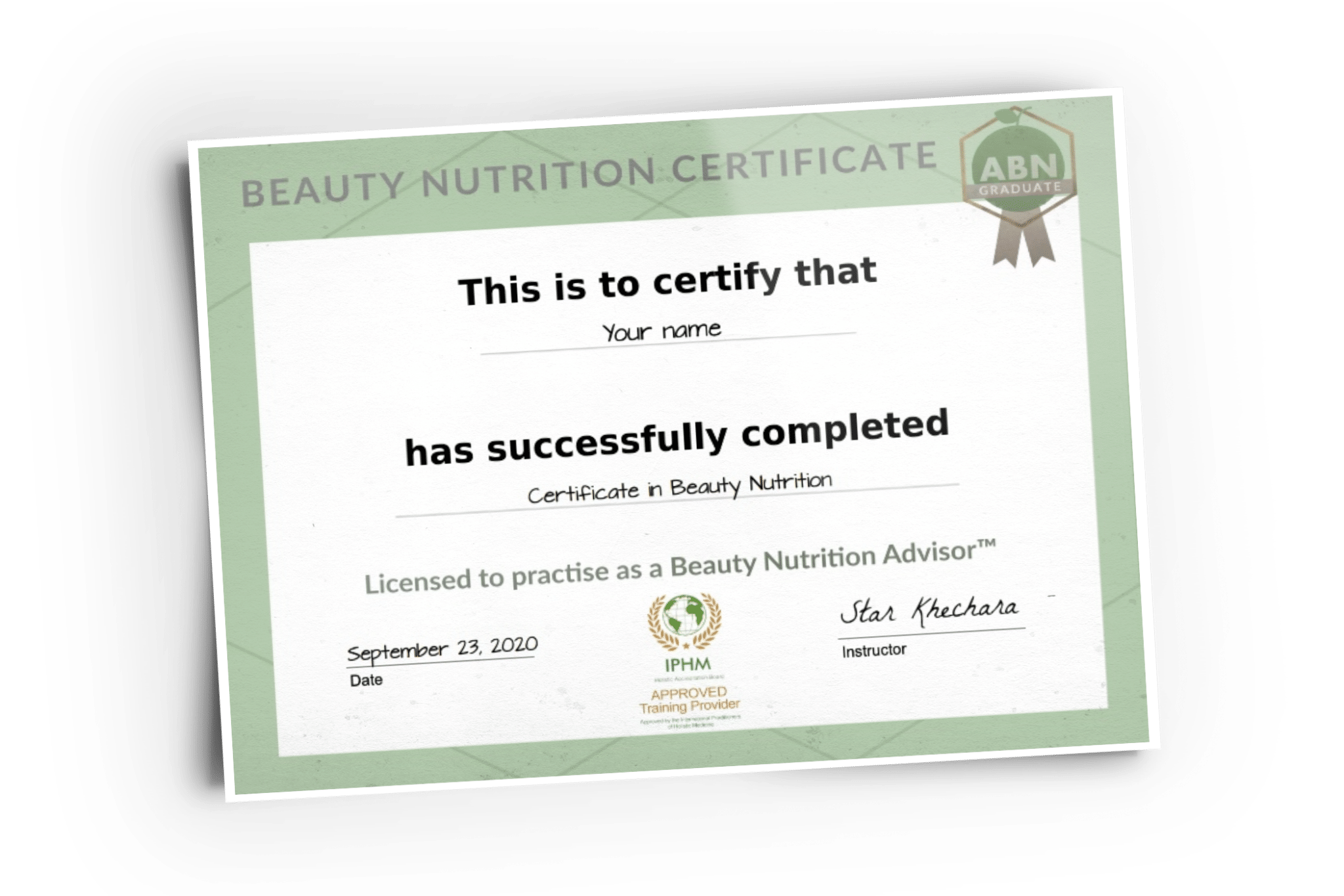 Image of a printed certificate in Beauty Nutrition