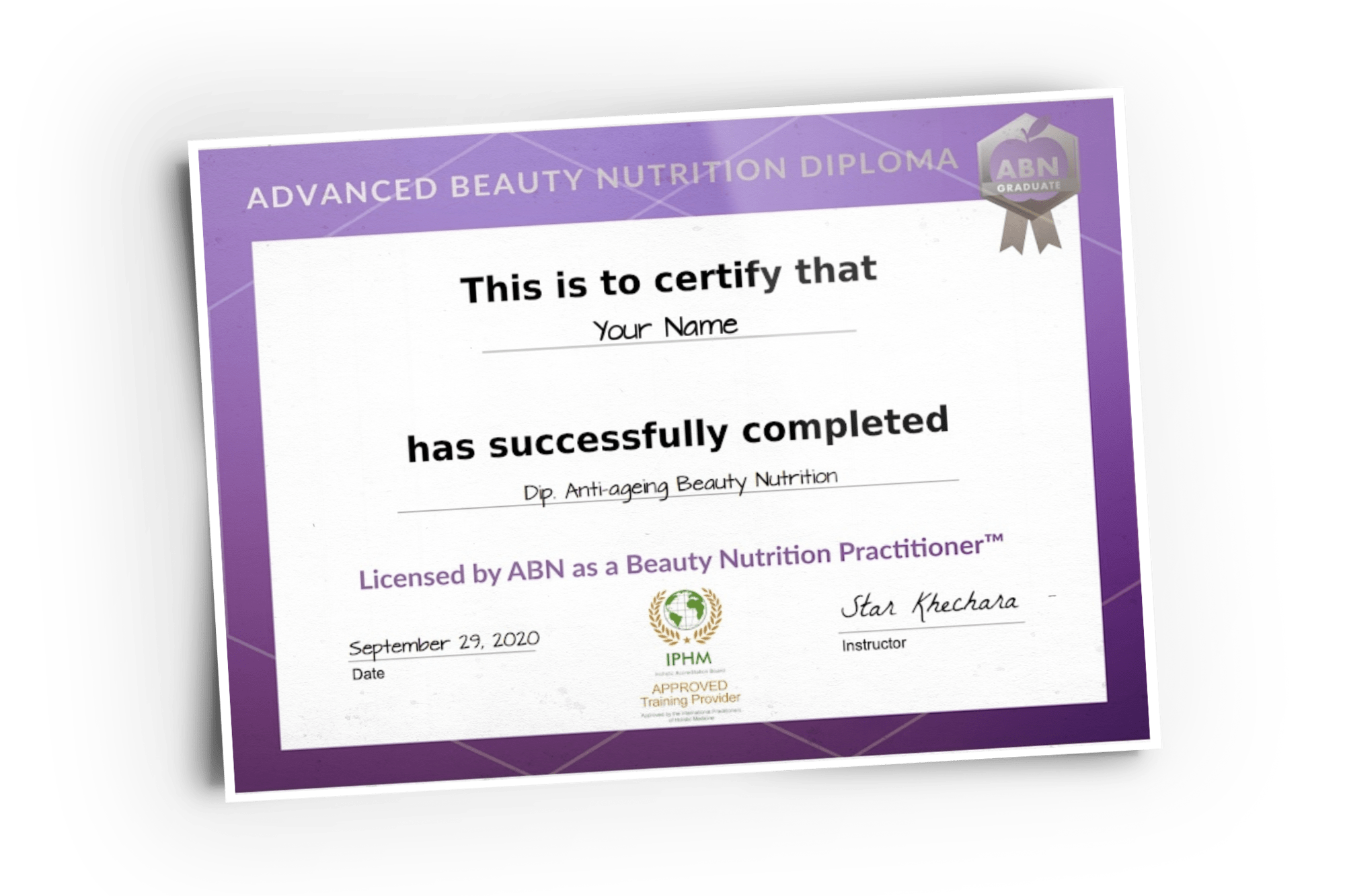 Beauty Nutrition Diploma Certificate graphic